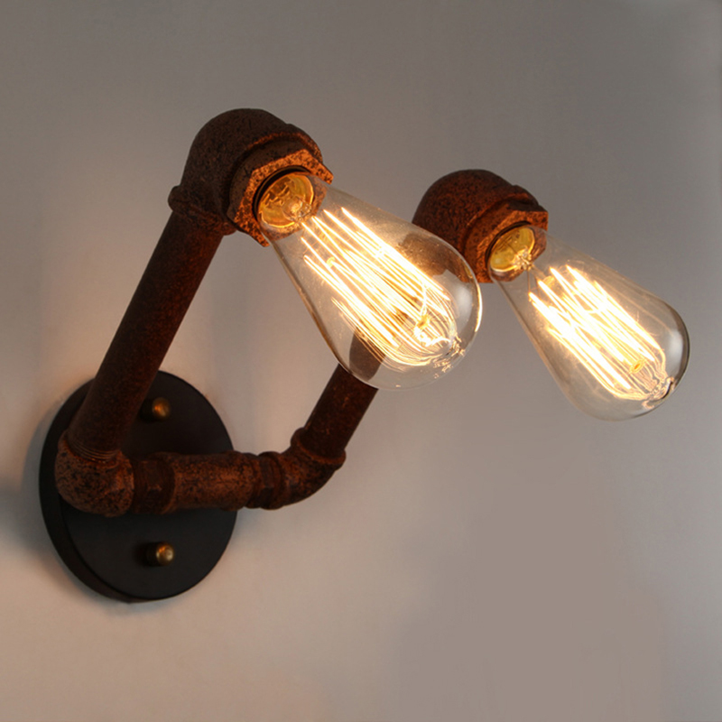 Water Pipe Vintage wall lamp Retro Copper Iron Industrial Loft Wall Sconce <strong>light</strong> warehouse Beside Lamps bar restaurant lampara