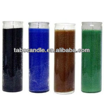 religious glass candle in colorful wax/100% palm wax candle