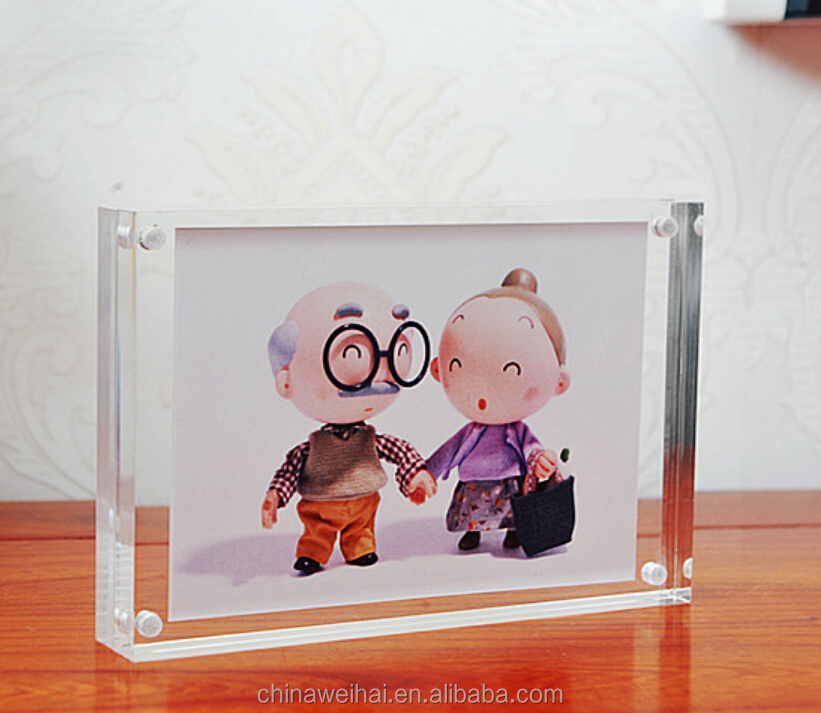 Acrylic photo frame Double-side magnetic crystal clear picture photo frame