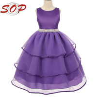 Purple beautiful A-Line short sleeve girls puffy dresses for kids