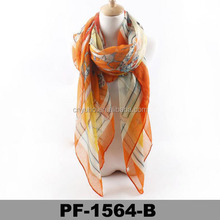 Fashion new design promotional High Quality Plain women long colourful printed scarf
