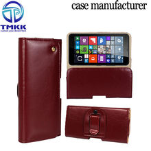Genuine Leather Waist Hang Case Cover Protector for Nokia Lumia 640 XL