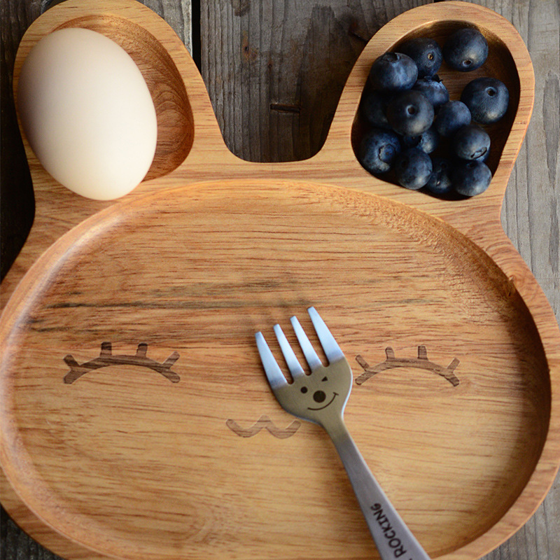 Eoc-friendly organic rice husk wooden baby dinner plate