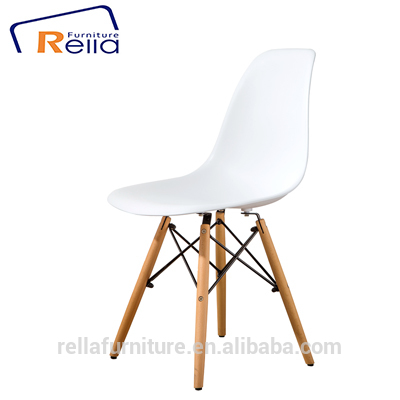 Wholesale beech wood legs ABS emes white plastic dining chair