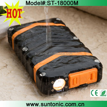 Portable Solar Phone Charger with Flashlight - Dual USB External Power Bank - Shock/ Dust/ Waterproof solar power bank 18000M