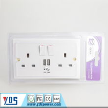 alibaba co UK 13A Double Socket USB Electric Wall UK Plug Sockets With 2 USB Outlets White