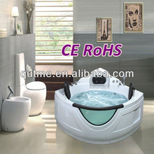 Sexy Blue Glass Jet Whirlpool Massage Bathtube with TV with Two Dream Pillow for 2 Persons Double Bathtub