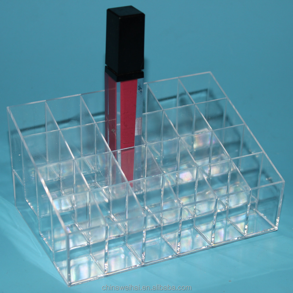Crystal Transparent 24 holes <strong>Acrylic</strong> or PS makeup organizer/Lipstick holder