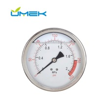 Silicone Glycerine Stainless Steel 1 Inch Pressure Gauge