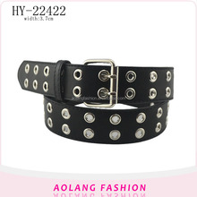 Newtest Fashion men eyelet punk style pants Belt cheap leather Belt for Men