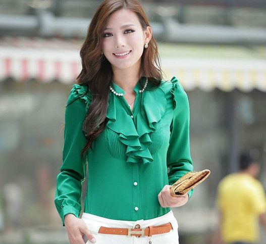 women blouse ladies casual dress shirt long sleeves Chiffon tops slim fit 2013 summer fashion clothes