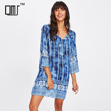 Tribal print hawaiian woman tie dye clothing latest vacation resort tunic dress