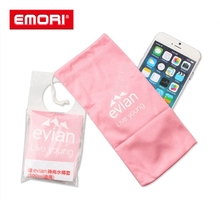 Wholesale printed reusable microfiber phone drawstring pouch