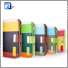 New arrival flip mobile phone cover mixed color pu leather phone case for iphone 6
