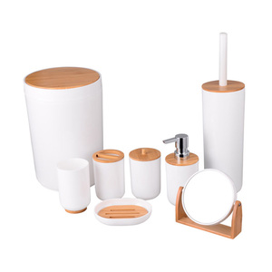 Hot christmas sell cheap plastic bathroom set bamboo bath accessories set
