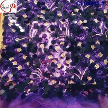 2017 Top Quality Purple African Lace Fabrics Wholesale French Lace Fabric Haute Couture Sequin Fabric For Fashion Dress CL61211