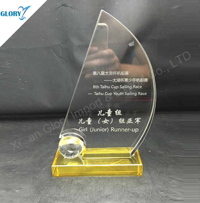 2016 New design Customized Crystal Sailing trophy Award