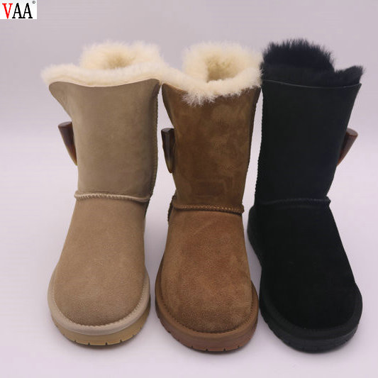 One Button Classical Genuine Leather Simple Style Sweet Winter Women Snow Boots Shoes JLX-DF-332