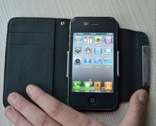deluxe full-grain genuine leather pouch case for iphone 4 and 4s, with pulling-out system