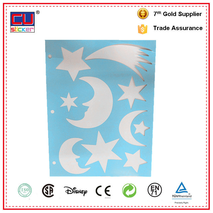 Eco-friendly plastic stars and moon shape DIY painting wall stencil
