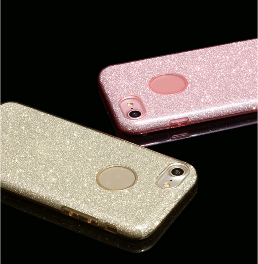 Wholesale phone accessory quality 3 in 1glitter phone case suit for iphone 5/6/7 plus