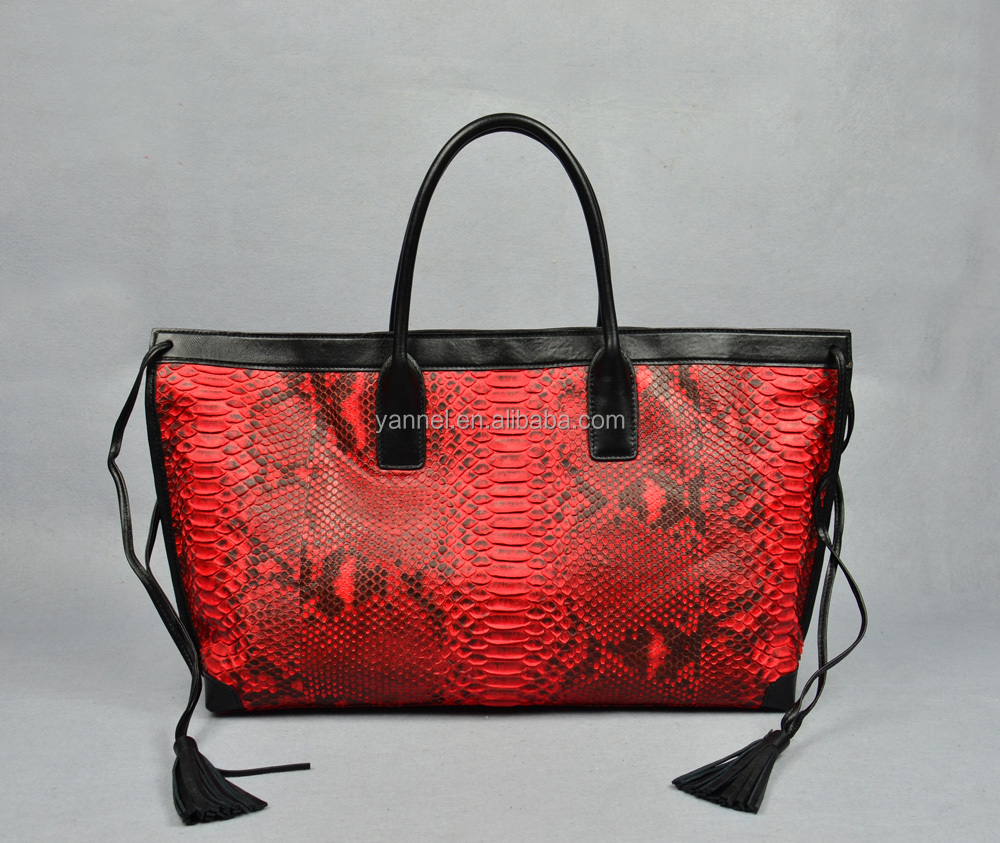 python leather lady oversized tote bag-python skin lady handbag_Italy style handbag