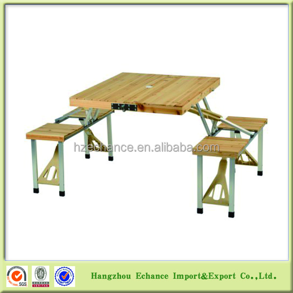 portable folding Fir wood picnic table and chairs set, wooden picnic table and bench case