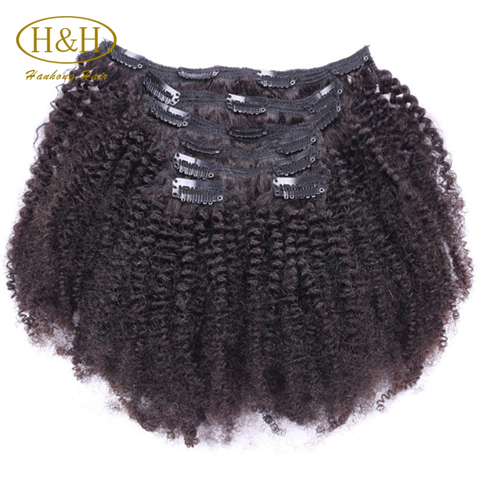 Cheap wholesale 100% virgin brazilian human hair afro kinky curly clip in hair extensions