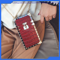 Latest Fashionable Hard PU Leather Purse Bags Mobile Cell Phone Box Design Shoulder Bags