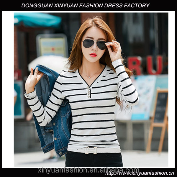 Latest Ladies Fancy Long Tops Casual Striped Designs Knit Tops Girls