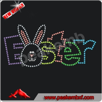 Wholesale Hotfix Easter Rabbit Rhinestones Transfers 2014 New Easter Design