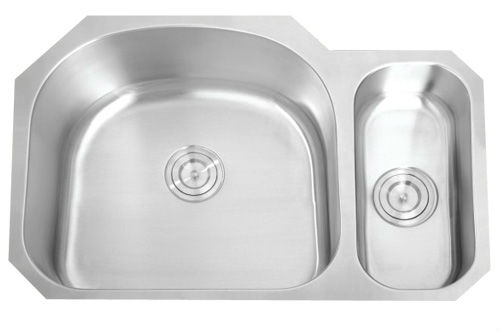 Stainless steel double bowl round angle kitchen sink