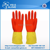 50g red-yellow long sexy latex gloves Jiangsu manufacturer cheapest disposable latex gloves factory