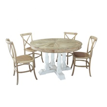 Reclaimed elm wood white round dining table with cross back chair