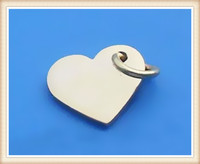 China supplier wholesale engraveable small heart metal logo tag custom jewelry tags stainless steel heart metal tag