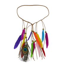 Women Hair Accessories Handmade Ethnic Tribal Gypsy Rope Wood Beads Colorful Feather Fancy Hairbands