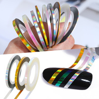 Latest Nail Laser Striping Tape Sticker for Girls 3D Nail Sticker Stripe DIY Laser Foil Nail Art Decoration