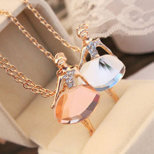 Fashion Korean Ballet Girl Pendant Necklace Crystal Romantic Pearl Sweater Chain Wholesale