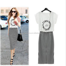 Yiwu new model girl One-piece Letter Print Striped Blouse Dress Short Sleeve Bodycon women Long Dress