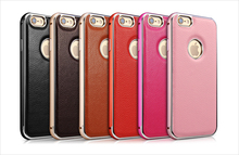 Genuine Leather Back Cover for iPhone6/6Plus, Aluminum Metal Bumper Case for iPhone6/6 Plus