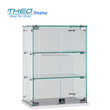 Simple style clear acrylic two-tier corner glass display cabinet with lock