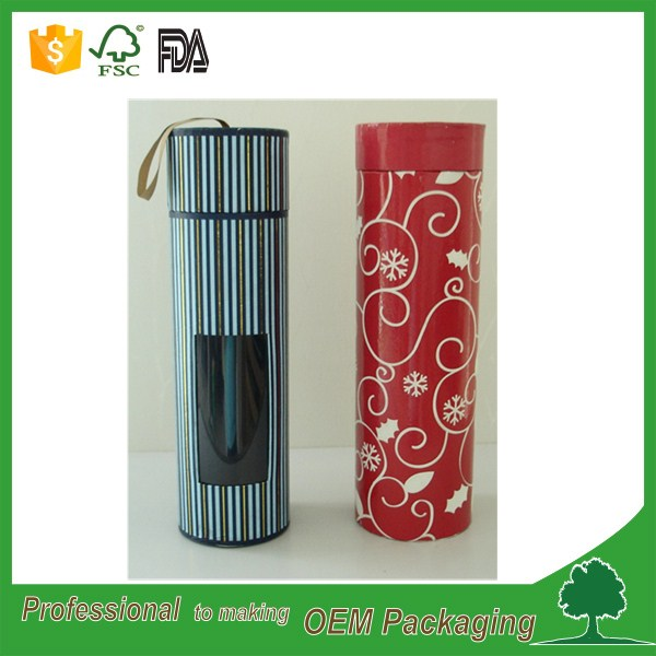 OEM order round shape box circle box paper cylinder case pvc window on side part custom design paper tube wholesale manufacturer
