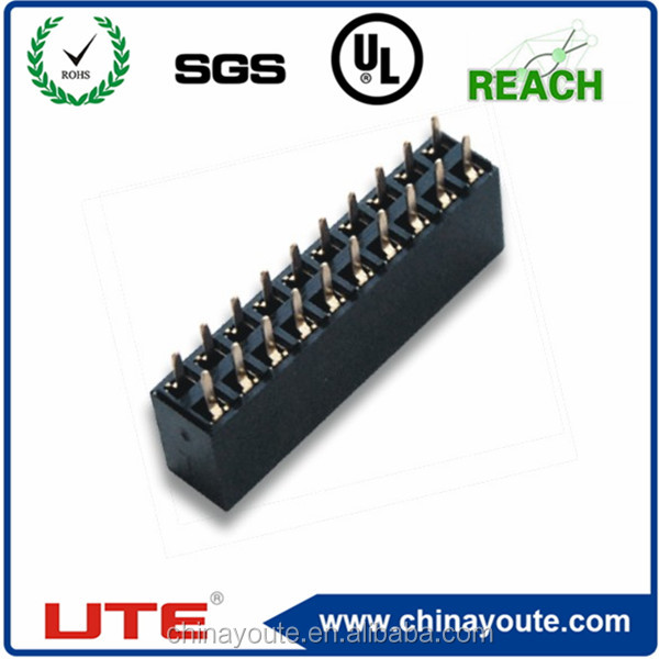 2.54mm dual row female crimp right angle connector