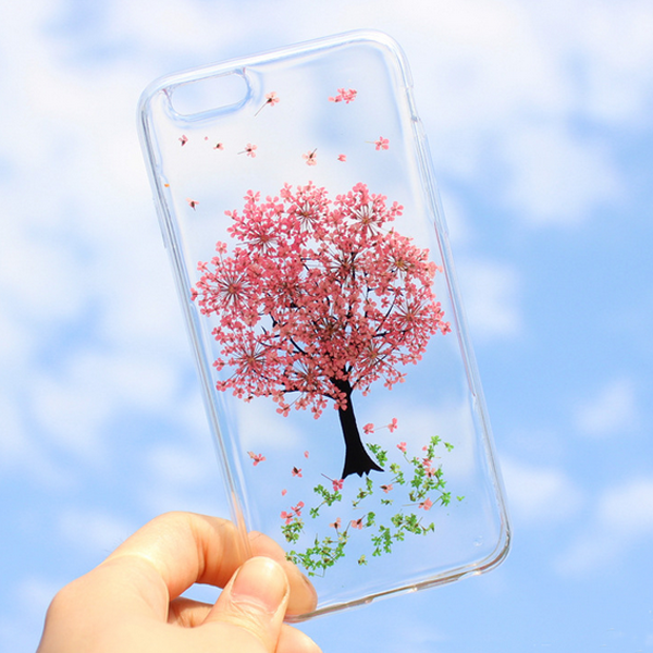 Real flower tpu transparent case for iphone 7