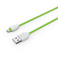 Ultra thin durable for micro usb cable bulk custom OEM micro usb logo 1m cable white/green