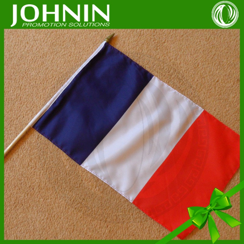 Factory directly kinds of sizes cheap polyester silk screen printing sticker french flag