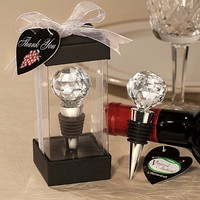 Free Shipping +Vineyard Collection Crystal Ball Design Wine Stoppers+100set / lot+Very Good for Wedding Favors