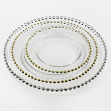 factory wholesale ready stock13&quot;11&quot;9&quot; gold beaded wedding or restaurant party use glass charger <strong>plate</strong>