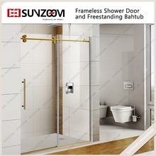 "Sunzoom China Suppliers ANSI 60"" Double Roller Sliding Shower Door"