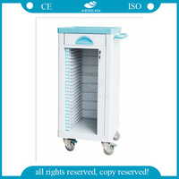 AG-CHT004 Top quality hospital patient abs nurse file trolley for sale